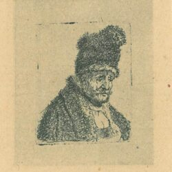 Rembrandt Ecthing, Bartsch B. 333, Head of an Old Man in High Fur Cap