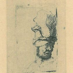 Rembrandt Etching, Bartch B. 302, Head of a man in a high cap