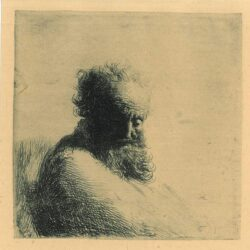 Rembrandt Etching, Bartsch B. 260, Bust of an old bearded man, looking down, three-quarters right