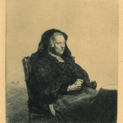 Rembrandt, etching, Bartsch B. 343, The artist's mother seated at a table, looking right: three-quarter length