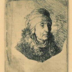 Rembrandt Etching, Bartsch B. 358, Woman with a High Headdress