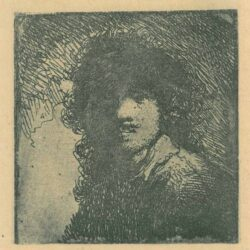 Rembrandt, etching, bartsch b. 332, Rembrandt with frizzled hair and strongly shaded