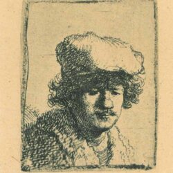 Rembrandt, etching, Bartsch b. 319, Self portrait with cap pulled forward