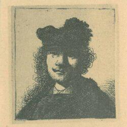 Rembrandt, etching, Bartsch B. 6, Rembrandt with a fur cap and dark dress
