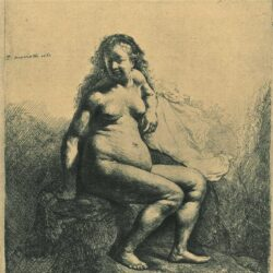 Rembrandt, etching, Bartsch b. 198, Naked woman seated on a mound