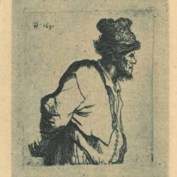 Rembrandt etching, Bartsch B. 135, Peasant with his hands behind his back