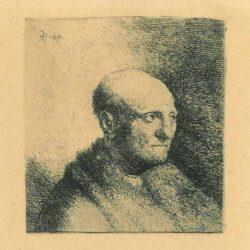 Rembrandt, Ets, Bartsch B. 324, Buste van een kale man met bontjas