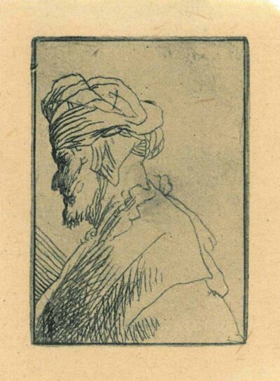 Rembrandt Etching, Bartch B. 323, Man with a hat with ear flaps
