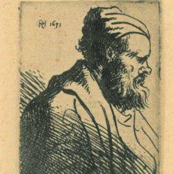 Rembrandt Etching, Bartsch B. 317, Head of an Old Man in a Cap