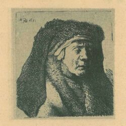 Rembrandt, etching, Bartsch b. 355, Bust of an old woman in a furred cloak and heavy headdress
