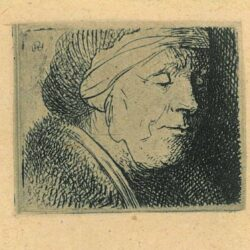 Rembrandt, etching, Bartsch b. 360, Head of an old woman
