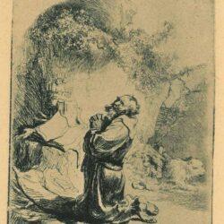 Rembrandt, etching, Bartsch B. 101, St. Jerome praying: arched print