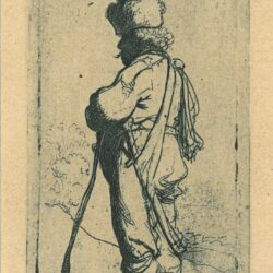 Rembrandt Etching, Bartch B. 141, Polander leaning on a stick