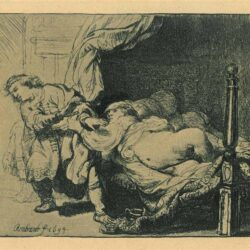Rembrandt Etching Bartsch B. 39, Joseph and Potiphar's Wife