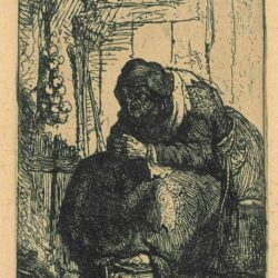 Rembrandt, etching, Bartsch b. 134, Old woman seated in a cottage with a string of onions on the wall