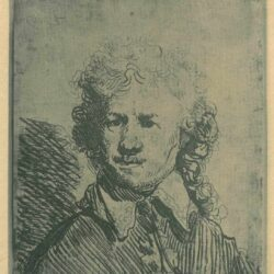 Rembrandt, etching, Bartsch b. 338, Self portrait bare-headed: bust, roughly etched