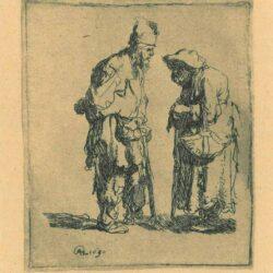 Rembrandt, etching, Bartsch b. 164, Beggar man and beggar woman conversing