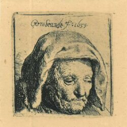 Rembrandt, etching, Bartsch B. 351, The artist's mother in a cloth headdress, looking down: head only