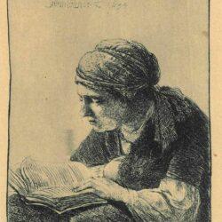 Rembrandt, etching, Bartsch B. 345, Woman reading