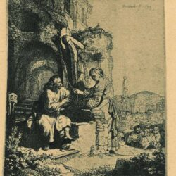 Rembrandt, etching, Bartsch B. 71, Christ and the woman of Samaria: among ruins