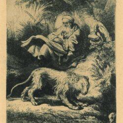 Rembrandt, etching, Bartsch B. 100, St. Jerome reading