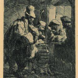 Rembrandt, etching, Bartsch B. 119, The strolling musicians