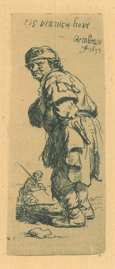 Rembrandt Etching, Bartsch B. 177, A peasant calling out 'Tis vinnich kout'