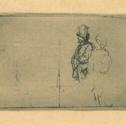 Rembrandt, etching, Bartsch B. 373, Sheet of studies with two farmers: one out of two farmers