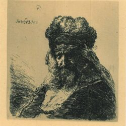 Rembrandt, Etching, Bartsch, B. 290, Old bearded man in a high fur cap, with eyes closed