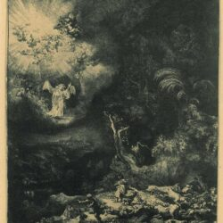 Rembrandt, etching, Bartsch B. 44, The angel appearing to the shepherds
