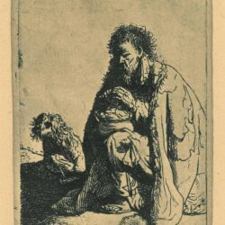 Rembrandt, etching, Bartsch b. 175, Seated beggar and his dog