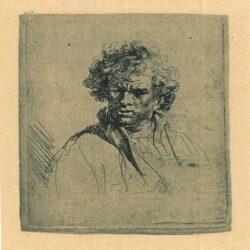 Manshoofd met vertrokken mond, Rembrandt Harmenszoon van Rijn (1606-1669) or Ferdinand Bol (1616-1680), Bartsch, B. 305