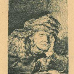 Slapende oude vrouw, Rembrandt ets, Bartsch, B. 350