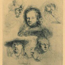 Kopstudies van Saskia en anderen, Rembrandt ets, Bartsch, B. 365