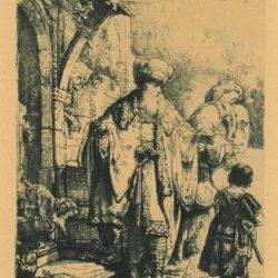 Abraham verstoot Hagar en Ismaël, Rembrandt ets, Bartsch, B. 30