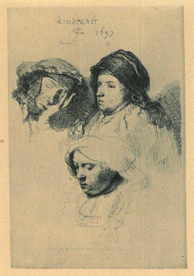 Drie vrouwenkoppen, één slapend, Rembrandt ets, Bartsch, B. 368