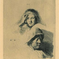 Rembrandt Etching, Bartch B. 367, Three heads of women, one lightly etched