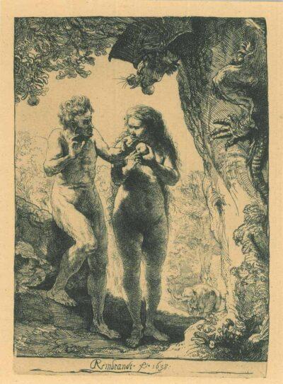 Rembrandt Etching, Bartch B. 28, Adam and Eva