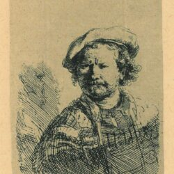 Rembrandt, etching, Bartsch B. 26, Self portrait in a flat cap and embroidered dress