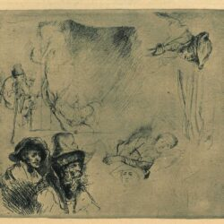 Rembrandt, etching, Bartsch B. 369, Sheet of studies, with a woman lying ill in bed, etc.