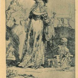 Rembrandt, Etching, Bartsch B. 109, Death appearing to a wedded couple from an open grave