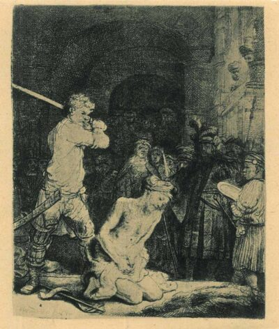 Rembrandt, Etching, Bartsch B. 92, The beheading of John the Baptist