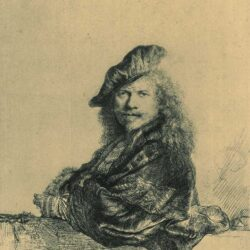 Rembrandt, etching, Bartsch B. 21, Self portrait leaning on a stone sill