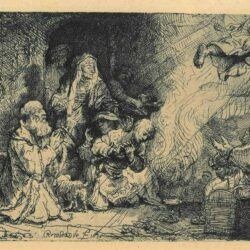 Rembrandt, Etching, Bartsch B. 43, The angel departing from the family of Tobias