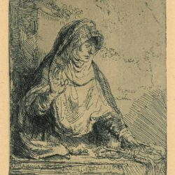 Rembrandt Etching, Bartch B. 85, The Virgin with the instruments of the passion