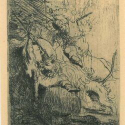 Rembrandt Etching, Bartch B. 116, The small lion hunt: with one lion
