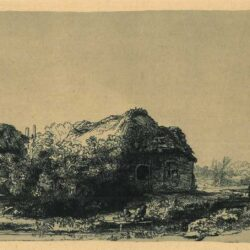 Rembrandt, etching, Bartsch B. 225, Landscape with a cottage and haybarn: oblong