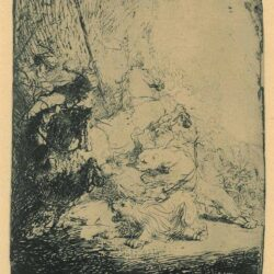Rembrandt Etching, Bartch B. 115, The small lion hunt: with two lions