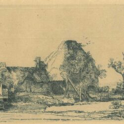 Rembrandt etching, Bartsch B. 219, Cottages and farm buildings with a man sketching