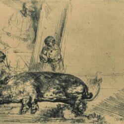 Rembrandt Etching, Bartch B. 157, The hog